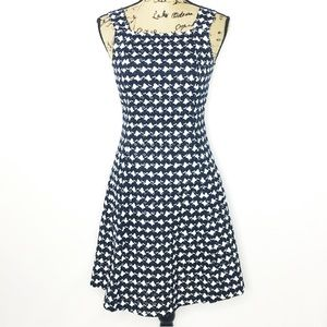 Theory Blue White Crochet Lace Fit n Flare Dress